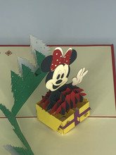 Handmade 3D Kirigami Card  with envelope  Mini Mouse Christmas