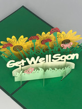 Handmade 3D Kirigami Card  with envelope  Get Well Soon