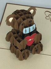 Handmade 3D Kirigami Card  with envelope  Covid Love Bear