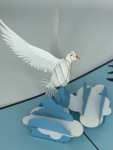 Handmade 3D Kirigami Card  with envelope  Dove