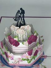 Handmade 3D Kirigami Card  with envelope  Wedding Cake
