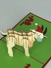 Handmade 3D Kirigami Card  with envelope  Christmas Covid Goat Bah Humbug