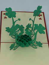 Handmade 3D Kirigami Card  with envelope  Small St Patrick's Day Clover Shamrock