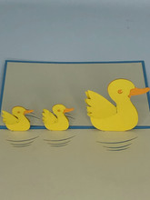 Handmade 3D Kirigami Card  with envelope  Duck Rubber Ducky