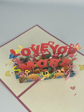 Handmade 3D Kirigami Card  with envelope  Love You More