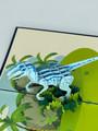 Handmade 3D Kirigami Card  with envelope  Raptor Dinosaur