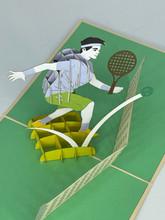 Handmade 3D Kirigami Card  with envelope  Tennis Player Pickelball