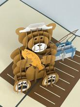 Handmade 3D Kirigami Card  with envelope  Fishing Bear