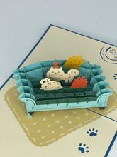 Handmade 3D Kirigami Card  with envelope  Pet Dog Cat Happy Birthday Sofa