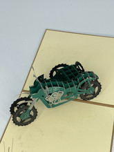 Handmade 3D Kirigami Card  with envelope  Green Motorcycle with Sidecar