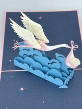 Handmade 3D Kirigami Card  with envelope  Stork Baby Boy or Baby Girl