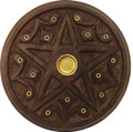 Wooden Round Plate Burner Pentacle (Pack of 12)