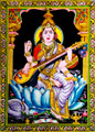 Tapestry Hand Painted Goddess Saraswati