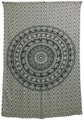 Indian Cotton Tapestry Elephant Mandala Black & White