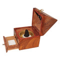 Wooden Pyramid Cone / Charcoal Burner with Storage Net Carving