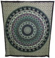Indian Cotton Tapestry Elephant Caribou Mandala (210 x 240 cm)