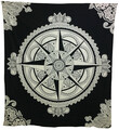 Indian Cotton Tapestry Compass Black & White (210 x 240 cm)