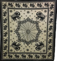 Indian Cotton Tapestry Elephant Square Black & White (210 x 240 cm)