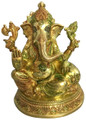 Brass Takiya Ganesh Colored 10""