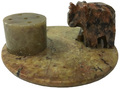 Stone Round Incense Burner  Elephant 3""