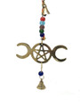 Brass Wind Chime String with Triple Moon Pentacle