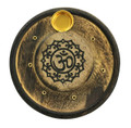 Wooden Round Incense / Cone Burner (Pack of 12) Painted Lotus Om