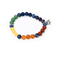7 Chakra 8mm beads with elephant trunk up charm bracelet #19