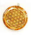 Oregonite selenite Flower of life pendant 2 inch