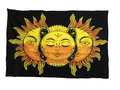 Indian Cotton Tapestry Celestial Sun Moon Star Faces