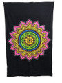 Indian Cotton Tapestry Lotus Multicolored on Black (135 x 220 cm)