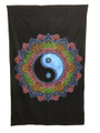Indian Cotton Tapestry Yin Yang Multicolored on Black (135 x 220 cm)