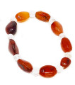 Carnelian Tumbled with round clear quartz bracelet #39