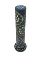 Stone Incense Burner Tower, Round, Black with Colored Flowers 10""