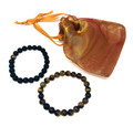 Tiger Eye + Black Agate couple bracelets  (2pc) #44