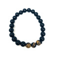 #65 Black Obsidian + Tiger Eye Bracelet U111