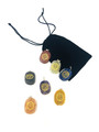 Engraved Palm stone 7 Chakra pendant set in Velvet Pouch SET#1