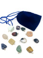 12 Mix Tumble Stone pendant with velvet pouch SET#2