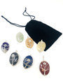 7 chakra OVAL stone wire wrap pendant set with velvet pouch SET#3
