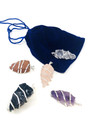 Rough wrap Pendants set of 5 with velvet pouch SET#4