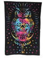Indian Cotton Tapestry Tie & Dye, Owl (135 x 220 cm)