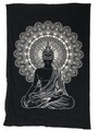 Indian Cotton Tapestry Buddha Black & White (135 x 220 cm)