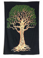 Indian Cotton Tapestry Tree on Black (135 x 220 cm)