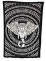 Indian Cotton Tapestry Elephant Head Black & White (135 x 220 cm)