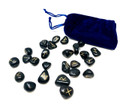 Black agate Rune stone set in velvet pouch (25 stone set)