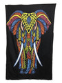 Indian Cotton Tapestry Elephant Multicolored on Black (135 x 220 cm)
