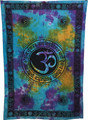 Indian Cotton Tapestry Tie & Dye, Om Gayatri (135 x 220 cm)