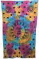 Indian Cotton Tapestry Tie & Dye, Sun Moon Stars (135 x 220 cm) (vertical)