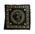 "Indian Cotton Tapestry Altar Cloth Om 24"" x 24"""
