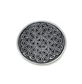 Aluminum Incense Holder / Burner Round, Flower of Life, approx. 4.5 inches