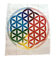 """Indian Cotton Tapestry Altar Cloth Flower of Life approx. 36""""x36"""""""